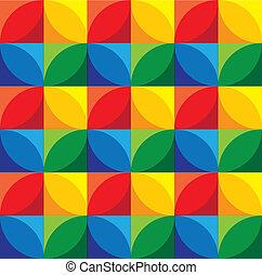 koła, &, grap, -, seamless, wektor, tło, geometryczny, kwadraty