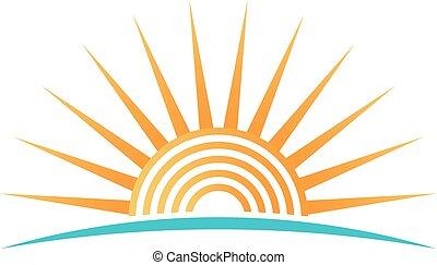 koła, koncentryczny, światło słoneczne