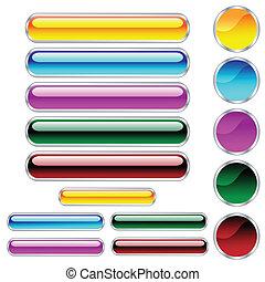 koła, pikolak, zaokrąglony, dobrany, kolor, połyskujący, scaleable, prostokąty