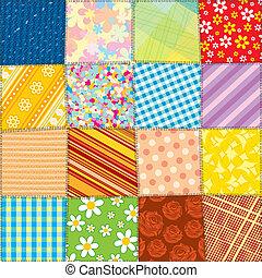 kołdra, patchwork, próbka, seamless, wektor, texture.