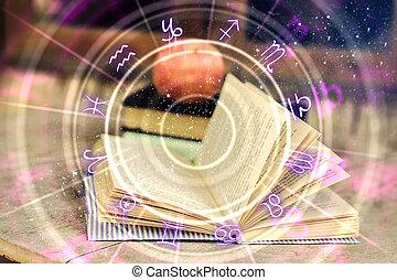 koło, abstrakcyjny, książka, zodiak