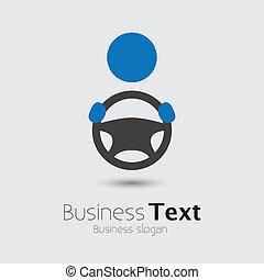 koło, albo, jego, cabbie, wóz, handlowy, przestrzeń, tekst, graphic., pojazd, kierowca, symbol-, ręka, wektor, ilustracja, dzierżawa, samochód, slogan, ikona, sterowniczy, widać