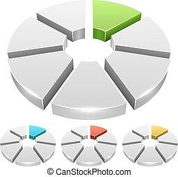 koło, ikony, farbować mapę morska, odizolowany, tło., wektor, biały, segment, 3d