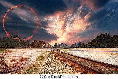 koło, kaprys, niebo, krajobraz, czerwony