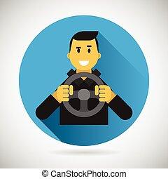 koło, miasto, napędowy, płaski, litera, jazda, kierowca, ilustracja, element, wektor, projektować, wóz, uśmiechnięty szczęśliwy, symbol, ikona