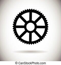 koło noska, mechaniczny, część, ikona, szczegół