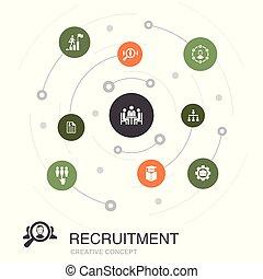 koło, położenie, pojęcie, zawiera, icons., elementy, zatrudnienie, barwny, taki, prosty, werbunek, kariera