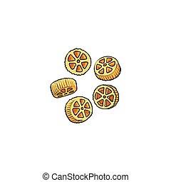 koło, wóz, mający kształt, pasta, uncooked, surowy, włoski