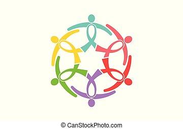koło, wstążka, wektor, logo, group., świadomość, dzierżawa, podobny, ludzie, projektować, razem, support., wstążki, rak