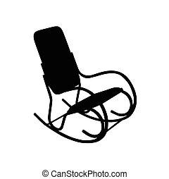 kołysanie, wektor, krzesło, ilustracja