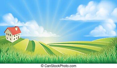 kołyszący, pola, zagroda, górki