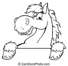 koń, konturowany
