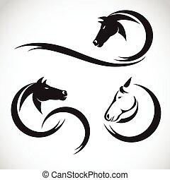koń, wektor, projektować, tło, wizerunki, biały