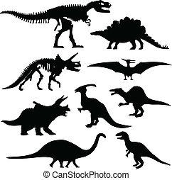 kość, dinozaur, sylwetka, szkielet