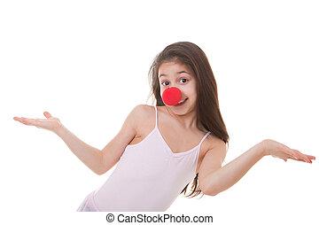 koźlę, nos, klown, czerwony