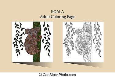 koala., wektor, adults, kolorowanie, zentangle, sprytny, ręka, pociągnięty, strona