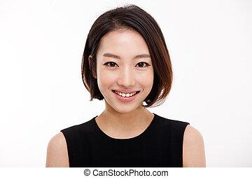 kobieta, ładny, handlowy, do góry, młody, portret, zamknięcie, asian