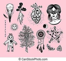 kobieta, łapacz, moth, symbolika, róże, węże, pentagram, piać, okultyzm, serce, lok, wiara w czary, drzewo, skull., alchemical, komplet, oczy, lalka, mandrake, sen, korzeń