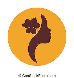 kobieta, amerykańska ikona, twarz, afrykanin