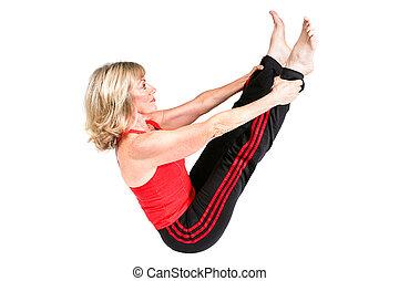 kobieta, atak, pilates, senior