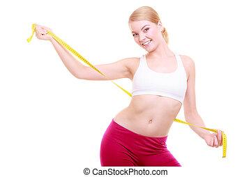 kobieta, atak, stosowność, odizolowany, taśma, diet., miara, dziewczyna