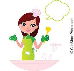kobieta, bańka, młody, gotowanie, kuchnia, mowa, piękny