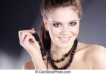 kobieta, biżuteria, ładny