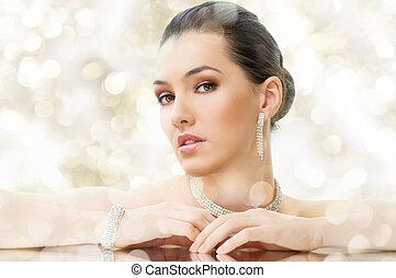 kobieta, biżuteria