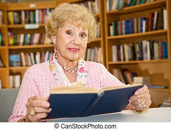 kobieta, biblioteka, senior