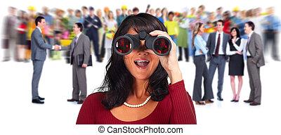 kobieta, binoculars., handlowy