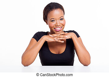 kobieta, biurko, afrykanin, posiedzenie