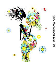 kobieta, brzemienny, bukiet, projektować, kwiatowy, twój