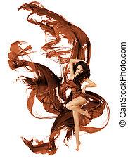 kobieta, budowla, taniec, strój, przelotny, falować, tancerz, materiał, biały, fason