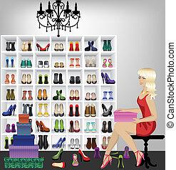 kobieta, butik, trudny, obuwie, blondynka
