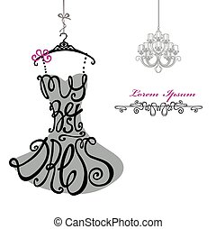 kobieta, chandelier., szablon, dress., najlepszy, silhouette., słówko, strój
