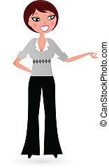 kobieta, coś, handlowy, odizolowany, przedstawiając, biały