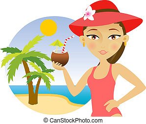 kobieta, cocktail, plaża