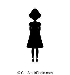 kobieta, czarnoskóry, sylwetka, reputacja, wektor