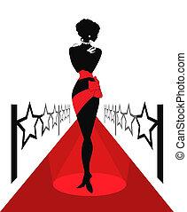 kobieta, czerwony dywan, sylwetka