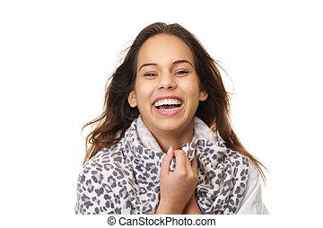 kobieta, do góry, młody, portret, zamknięcie, śmiech