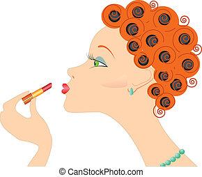 kobieta, do góry, .make, portret, cosmetic., szminka