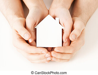 kobieta, dom, papier, siła robocza, biały, człowiek