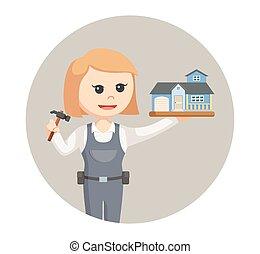 kobieta, dom, stolarz, miniatura, tło, koło