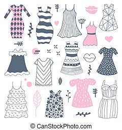 kobieta, doodle., ilustracja, ręka, wektor, pociągnięty, freehand, fason, stroje