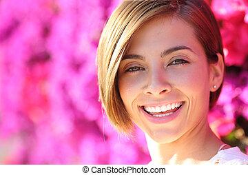 kobieta, doskonały, uśmiechanie się, zęby, piękny, biały