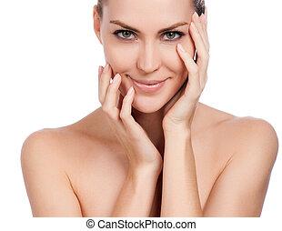 kobieta, dotykanie, świeży, skin., młody, odizolowany, face., zdrowy, jej, piękny, biały