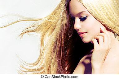 kobieta, dotykanie, piękno, portrait., młody, twarz, jej, piękny