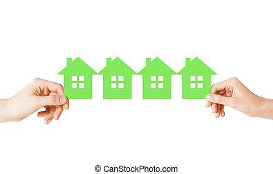 kobieta, dużo, domy, papier, zielony, siła robocza, człowiek