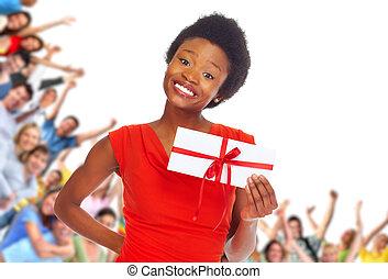 kobieta, envelope., młody, afrykańska-amerikanka