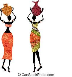 kobieta, etniczny, wazon